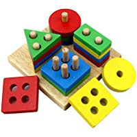 KanCai木製Preschool幾何図形スタックSortingボード教育ブロックパズルToys for Kids