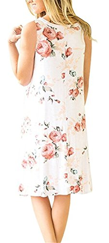 Boho Tshirt Dresses for Women Sleeveless Summer Beach Floral Shift Pockets Casual Swing Loose Damask (S, White)