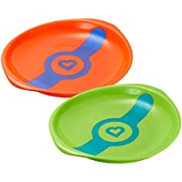 Munchkin White Hot Toddler Plates - 2 Count - Colors: Green/Coral by Munchkin