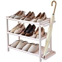 YANFEI 3層シンプルな家庭用靴キャビネットアセンブリ近代的なミニマリスト防塵寮ストレージシェルフ (色 : カーキ)