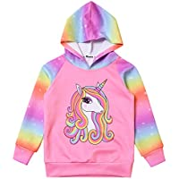Mirawise Girls Hoodie Unicorn Pullover Hooded Sweatshirt Blouse Tops with Pocket