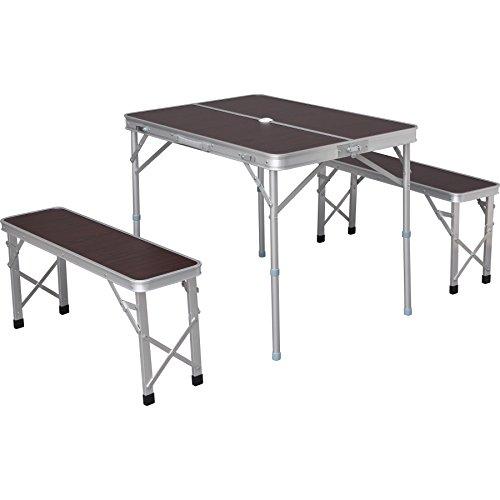 アイリスプラザ テーブル ベンチ セット アウトドア 幅90×奥行66×高さ70~39cm ブラウン