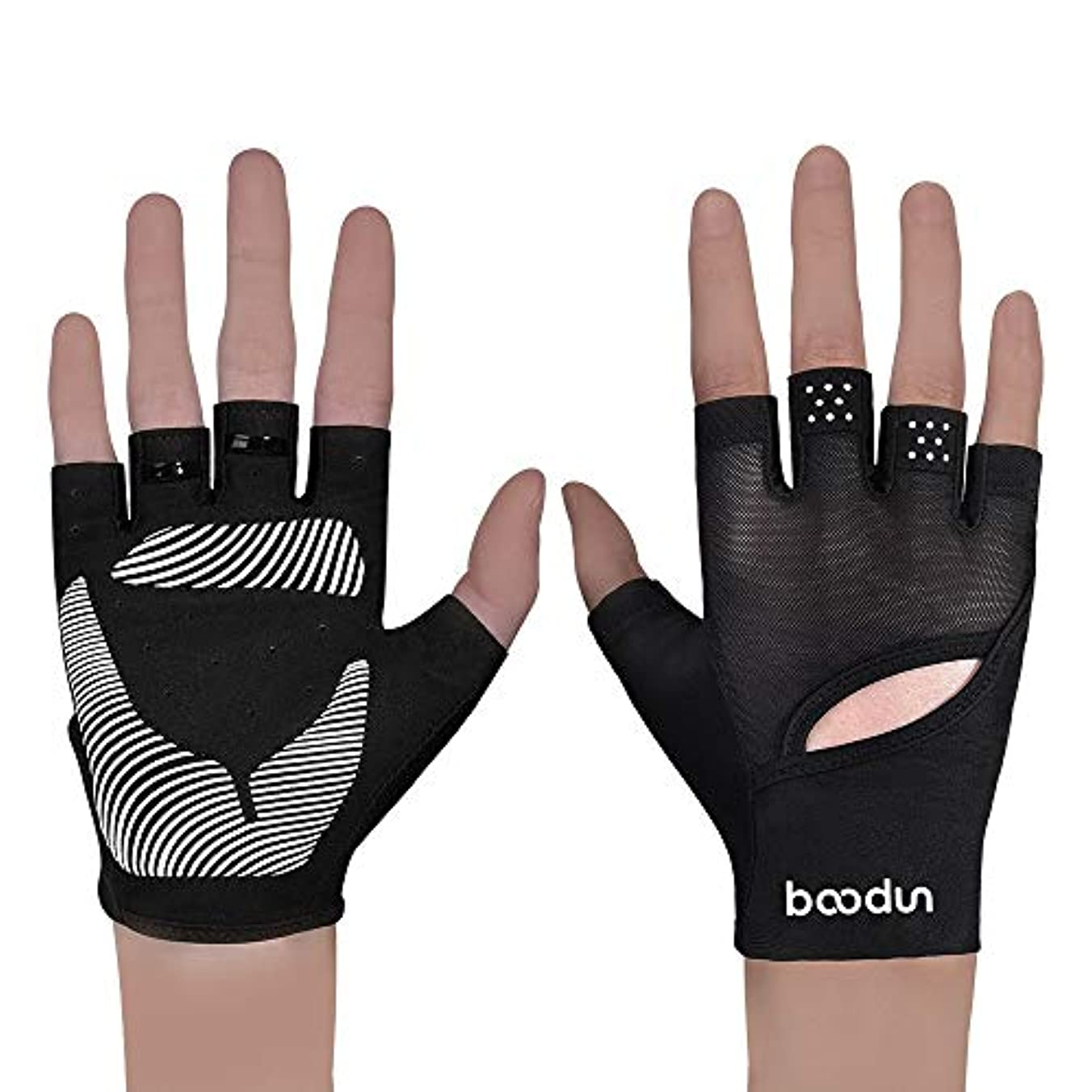 延ばす立方体花瓶トレーニンググローブ Palmはウェアラブルパームマット女性スポーツフィットネス手袋ヨガハーフフィンガーグローブフィットネススリップ (Color : Pink, Size : M)