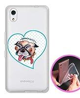 ガールズネオ SoftBank DIGNO J 704KC / Y!mobile Android one S4 TPU ソフトケース (パグのブギー/ハート ブルー) KYOCERA S4-TPU-YMM-0014