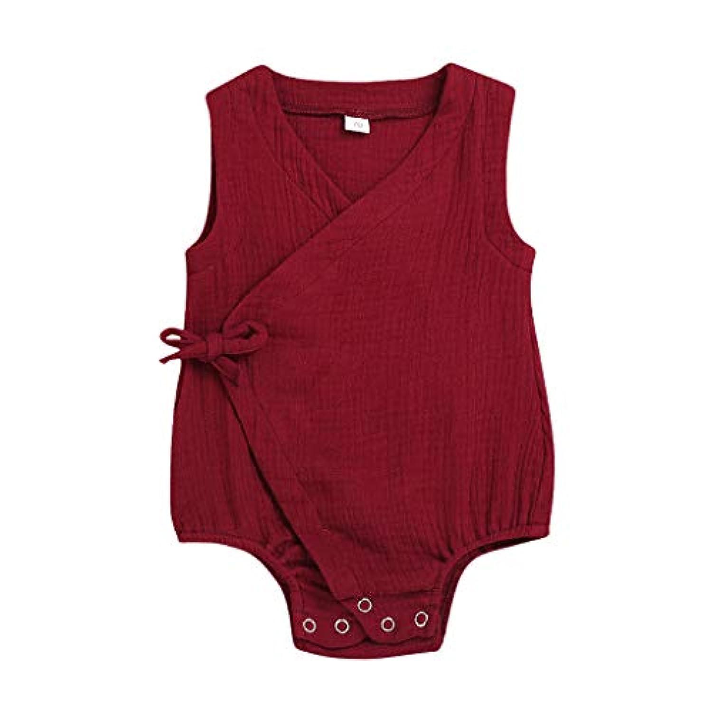 洋子ちゃん 新生児 夏服 女の子 無地 レース アップ ワンピース スーツ かわいい 新生児 女の子 ベビー ロンパース カバーオール 0-18か月