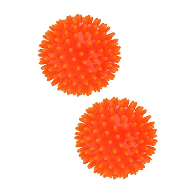 Fenteer 2個 マッサージボール スパイキック トリガーポイント 5色選べ - オレンジ
