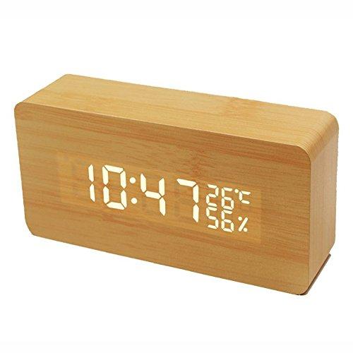 (トレンディ)Trendy 置き時計 目覚まし時計 LED アラーム 大音量 デジタル カレンダー付 温度湿度表示 音声感知 USB給電 木目調 ナチュラル風 茶 白字