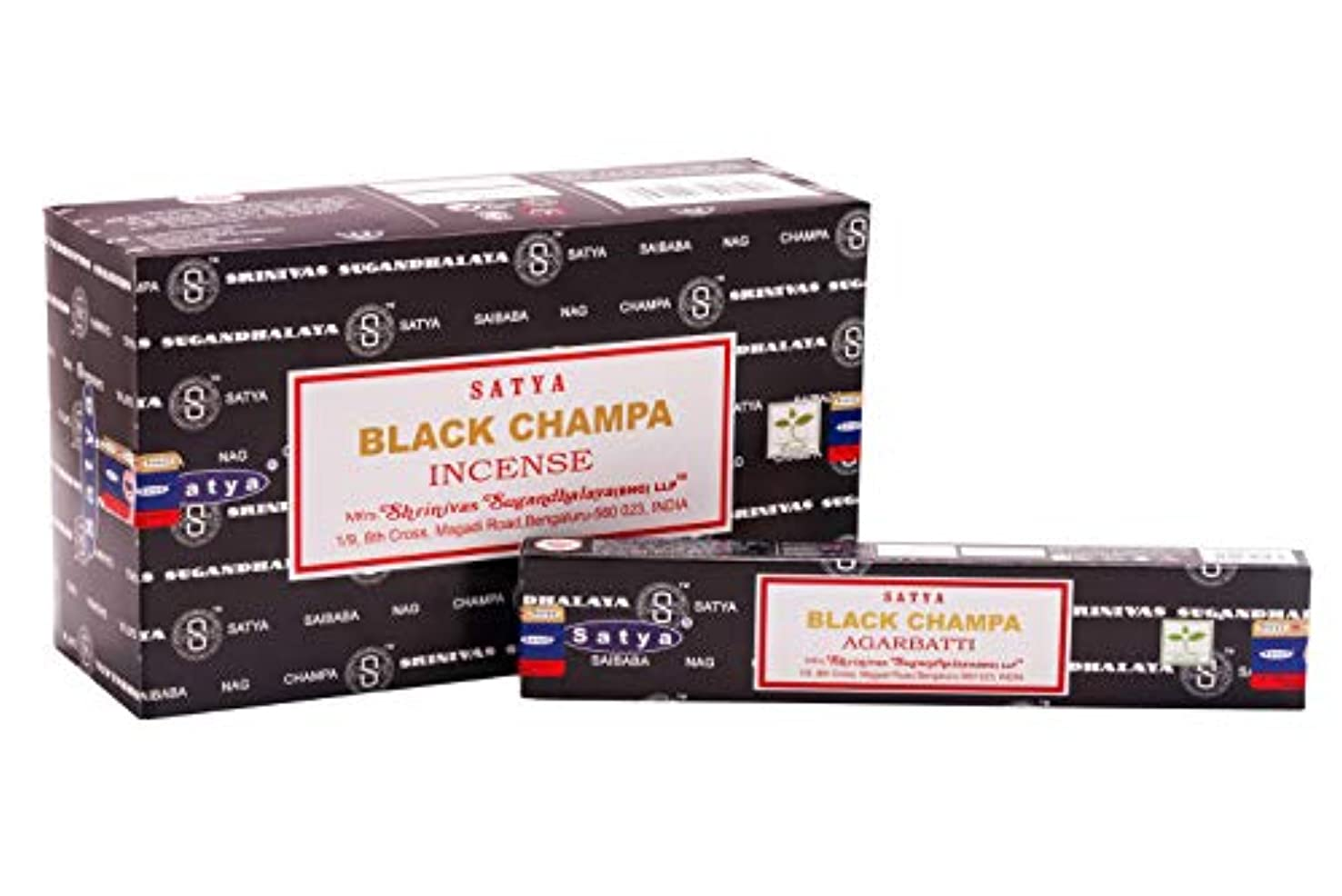 家禽舞い上がる知り合いサティヤ 黒 ナグチャンパ 15g 12個パック (12箱×15グラム)
