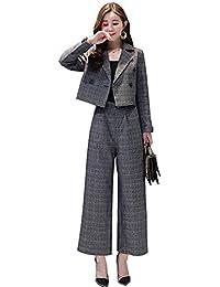 パンツスーツ レディース セットアップ 格子 テーラードジャケット大きいサイズフォーマル就活スーツセット リクルートスーツ 洗える卒業式 事務服着痩せ