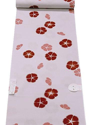 日本製 綿100% 浴衣生地 反物 捺染 「撫子柄」 白藤色...