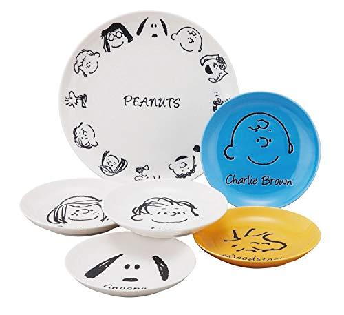 「 PEANUTS(ピーナッツ) 」 スヌーピー フェイス プレート 皿 6点セット SN70-52