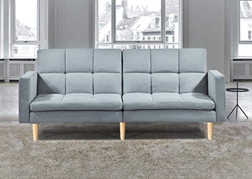 Sofa Sofabed Lounge New York Platinum Grey Colour *Includes SOFABED Feature* Genuine Wooden Legs HOTSHOPPA (Platinum Grey)