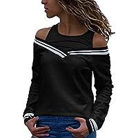 Cinhent Blouse, Women Cold Shoulder Patchwork Long Sleeve Tops Sweatshirt