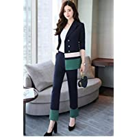 XuBa Blazer Jacket 2 Piece Set Long Pants Suits Office Uniform Designs Women Autumn Patchwork Double Breasted Female Business Suit