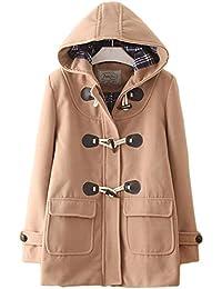 (エスライフ) S-Lifeeling レディース コート 冬 ダッフルコート オーバー 保温 防寒 学生 通勤 フード付き かわいい 無地 ウールコート