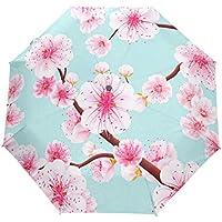 雨傘 折りたたみ傘 三つ折り傘 自動傘 自動開閉 ワンタッチ 梅の花 ピンク 8本骨 撥水性 晴雨兼用 ファッション 耐風