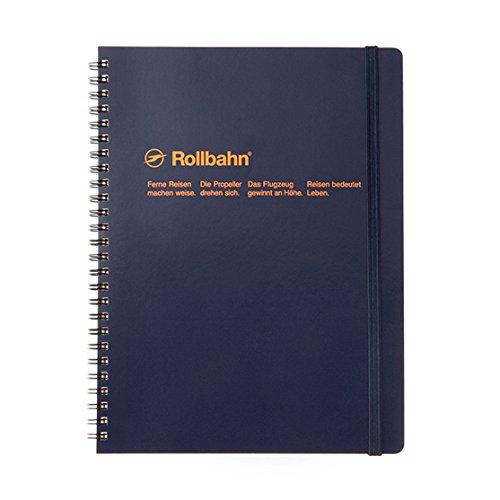 デルフォニックス ロルバーン ポケット付メモ [リング式/切離しミシン目付き] (横203×縦260×厚み16mm/XLサイズ) ダークブルー NRP06-DB