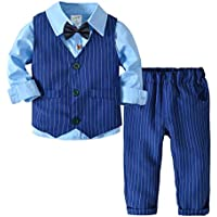Fairy Baby 4PC Baby Boy Outfit Toddler Suit Cloth Set Formal Tuxedo Shirt+Vest+Pant Set