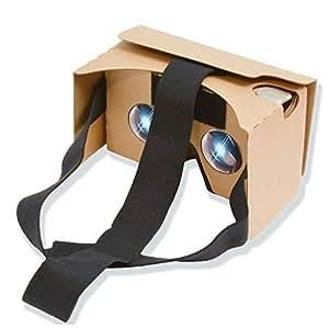 POTOK CardboardV2 VRカードボード V2.0 ゴーグル3D VRメガネ 組み立て式 ノーズパッド/ヘッドバンド/タッチボタン付き 4- 5.5インチのスマートフォン (ブラウン)