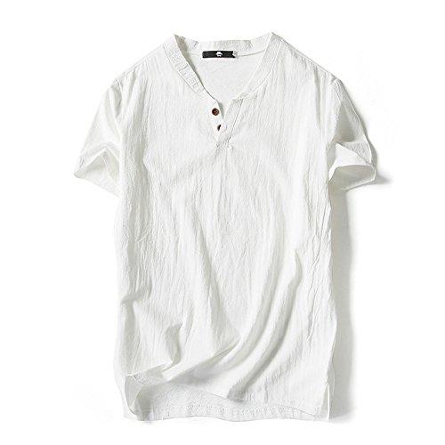 (オリマート)ORI-MART スウェット Vネック 半袖 Tシャツ 麻 無地 ストリート系 カジュアル シャツ メンズ (5XL(日本サイズ4L相当), ホワイト)