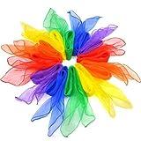 Viffly リトミックダンススカーフ 12色セット オーガンジー シフォン生地 60㎝ ジャグリングダンススカーフ (タイプ1)