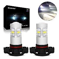 MAXGTRS H16EU 3020チップ6000K白色LEDフォグ電球、昼間のランニングライト、フォグランプ-360度の非常に明るいコンデンサーレンズ付き