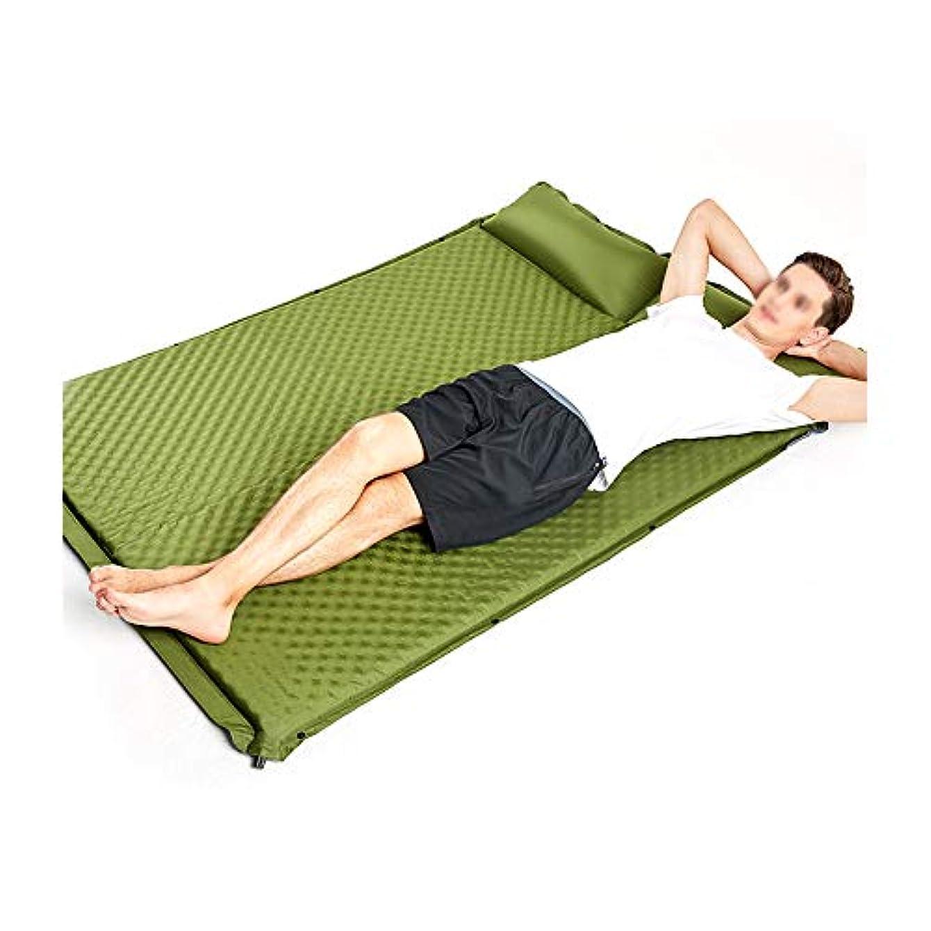 見捨てる野球枕、キャンプ、バックパッキング、旅行、2人のための防湿ポータブルキャンプマットと軽量ダブルセルフ膨らまスリーピングパッド