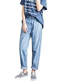 Jocolate(ジョコレート) デニムパンツ レディース ボーイフレンド ワイドパンツ ロング ストレッチ ジーンズ 体型カバー ゆる 大きいサイズ ブルー
