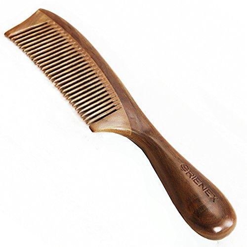 Orienex 高級木製櫛 ヘアブラシ ヘアコーム 静電気防止 頭皮マッサージ 天然緑檀 (並歯緑檀)