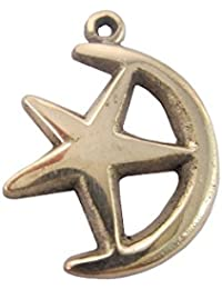 三日月と星のゴールドトーン真鍮ペンダントブラックコードネックレス