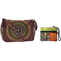 Canvas Cotton Sling Boho Cross Body Shoulder Bag & Coin/Money Purse Bundle Nepal - Circle Geometric Design
