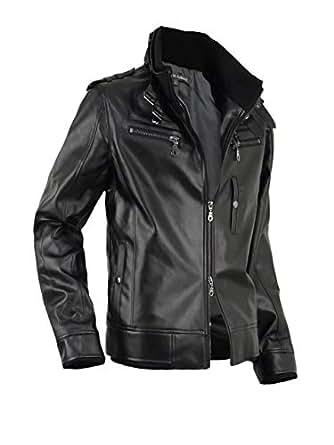 レザージャケット メンズ 革ジャン ライダースジャケット ライダースブルゾン 合成皮革 916500A 黒 M