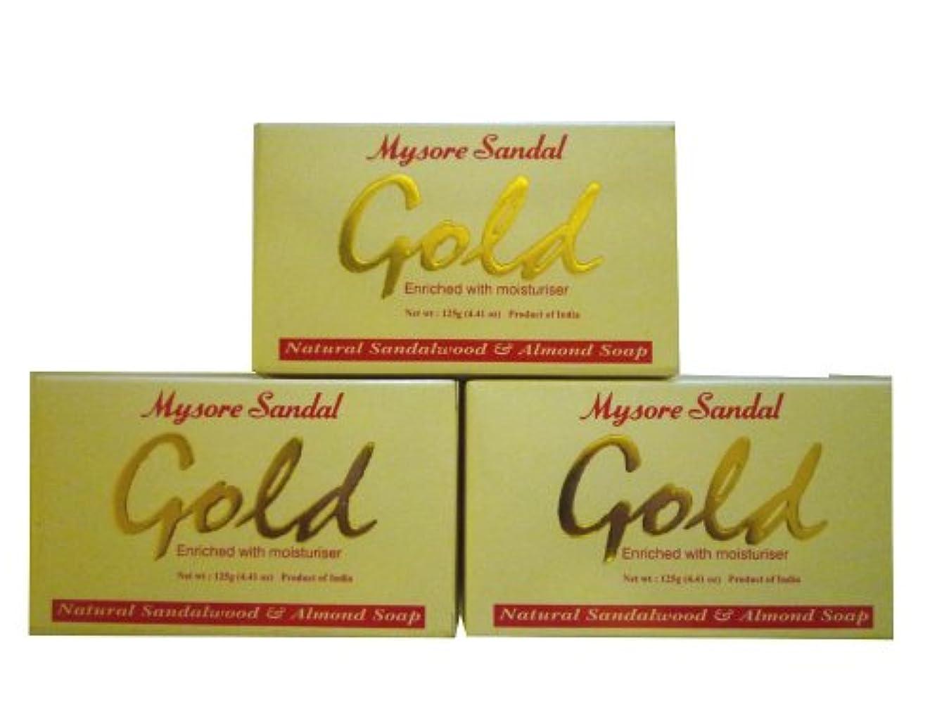 行商人水っぽいコック高純度白檀油配合 マイソール サンダルゴールドソープ 3個セット