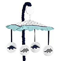 Sweet Jojo Designs Musical Baby Crib Mobile for Blue and Green Modern Dinosaur Girls or Boys Bedding Collection [並行輸入品]