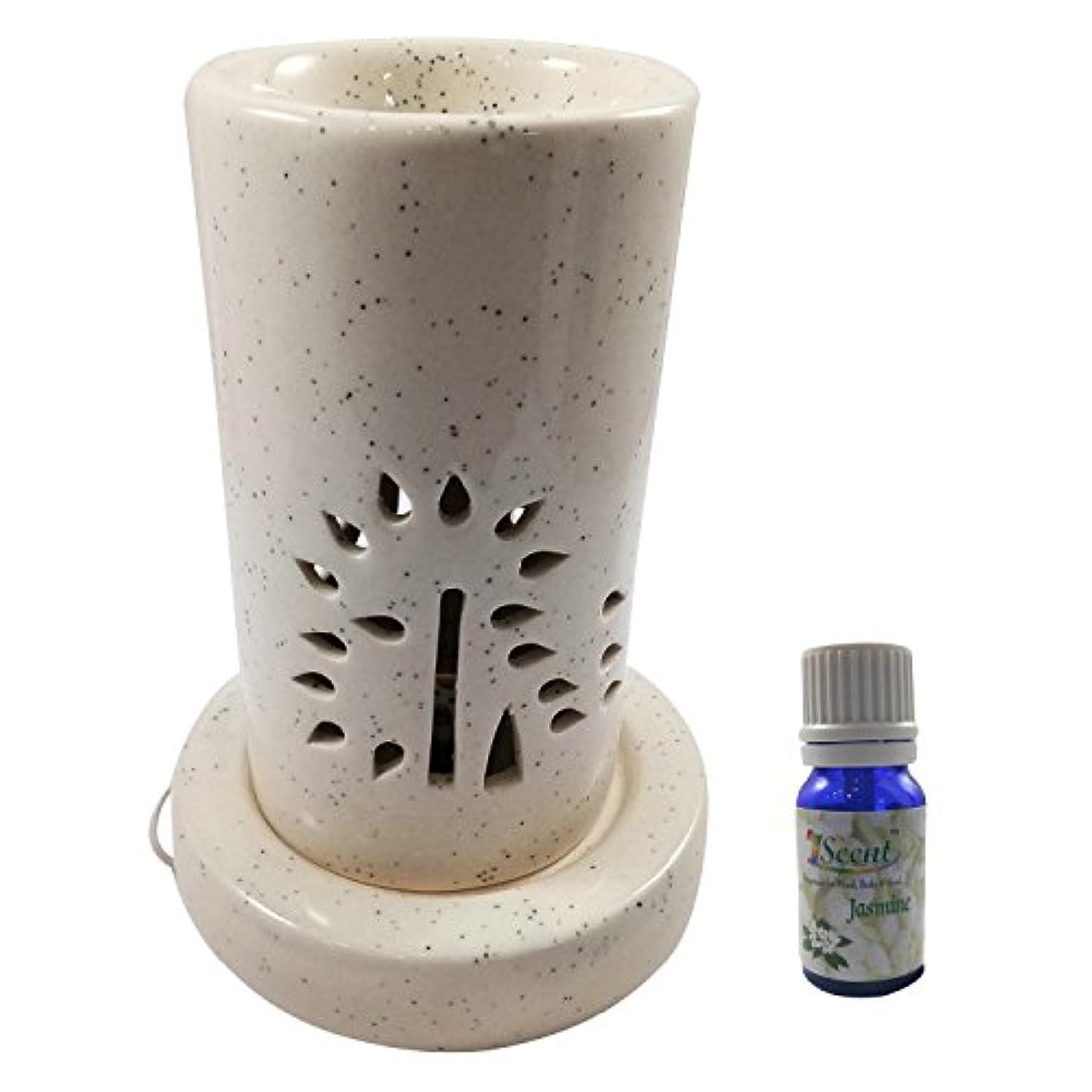 テスピアンたまに儀式ホームデコレーション定期的に使用する汚染フリーハンドメイドセラミックエスニックサンダルウッドフレグランスオイルとアロマディフューザーオイルバーナー良質ブラウン色電気アロマテラピー香油暖かい数量1