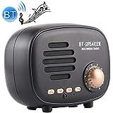 Mini Portable Stereo Speaker Q108 Retro Mini Wireless Bluetooth Speaker, Support Hands-Free/TF Card/U Disk/FM (Black) (Color : Black)