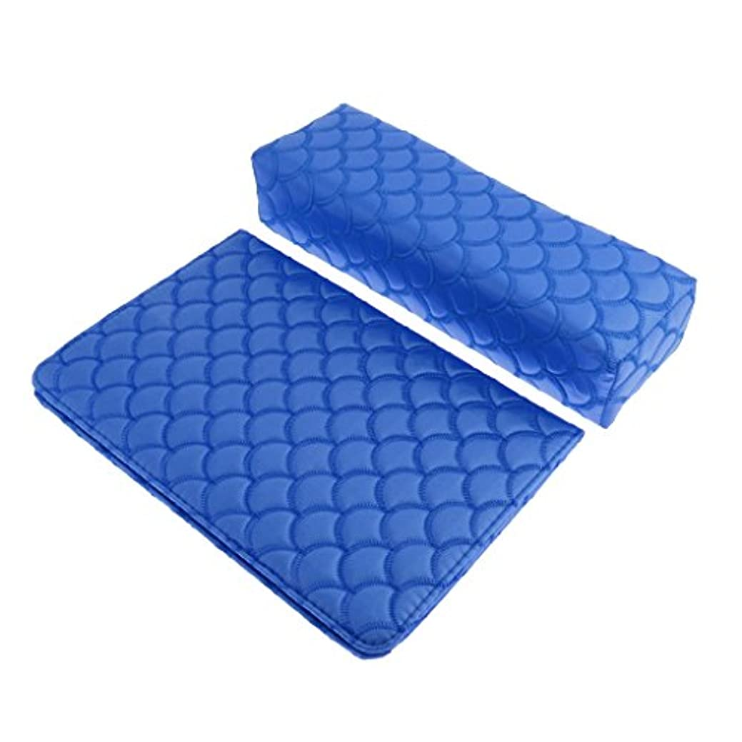 矢勤勉であるソフト ハンドクッション ネイルピロー パッド ネイルアート デザイン マニキュア アームレストホルダー 多色選べる - 青