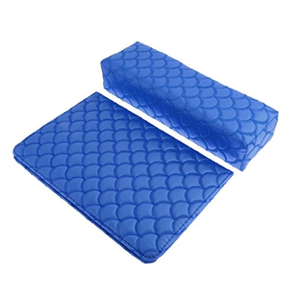 つなぐベーコンレイアウトソフト ハンドクッション ネイルピロー パッド ネイルアート デザイン マニキュア アームレストホルダー 多色選べる - 青