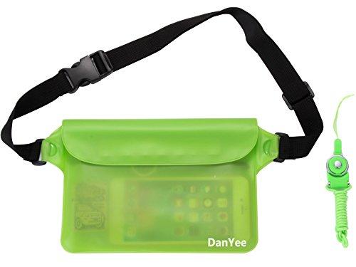 Danyee®安心交換保証付 防水ポーチ(全8色) 3重チャック PVC素材 海水浴 プール 釣り バイク ウエストバッグ 防水 携帯(グリーン)