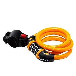 【鍵 要らず】 5桁ダイヤル式 ワイヤーロック 自転車用 ブラケット付 シートポスト用 並行輸入品 (オレンジ)