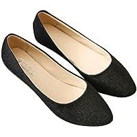 (KiKi&Gil) レディース フラット シューズ パンプス ローヒール ペタンコ靴 ラメ キラキラ グリッター
