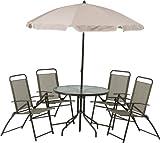 不二貿易 ガーデン6点セット テーブル×1 チェア×4 パラソル×1 79769