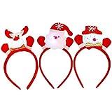 BESTOYARD 3本のクリスマスヘッドバンドLEDライトアップ雪だるまトナカイサンタクロースヘッドバンドクリスマスパーティーコスチューム