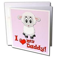 リナピロ–キッズ–I Love My Daddy。Sheep。ピンク。–グリーティングカード Set of 6 Greeting Cards