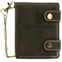 Biker Wallet with Chain - Premium Leather, Anti Theft Chain, RFID Blocking, Cross Sign & Key Ring