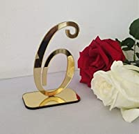 RUIXUANアクリルミラーテーブル番号、ホルダー付き結婚式テーブル番号、結婚式テーブル番号セット、結婚式テーブル装飾、ミラーアクリルテーブル番号(ゴールド、25PCS)