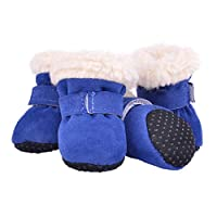 B Blesiya ペット 犬 靴 防水 靴 快適 暖かい 靴 4個 多種選べる - ブルー, M