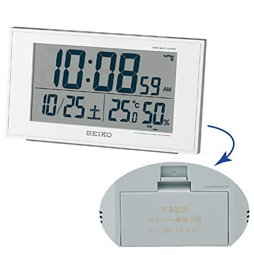 セイコークロック 置き時計 01:白パール 本体サイズ:8.5×14.8×5.3cm 【名入れ・包装】電波 デジタル カレンダー 快適度 温度 BC402W 5個セット