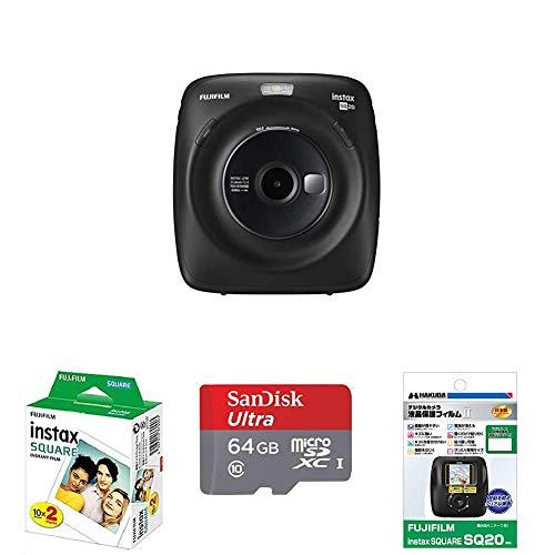 FUJIFILM ハイブリッドインスタントカメラ instax SQUARE SQ20 マットブラック + アクセサリー3点セット(SDカード+液晶保護フィルム+フィルム20枚)