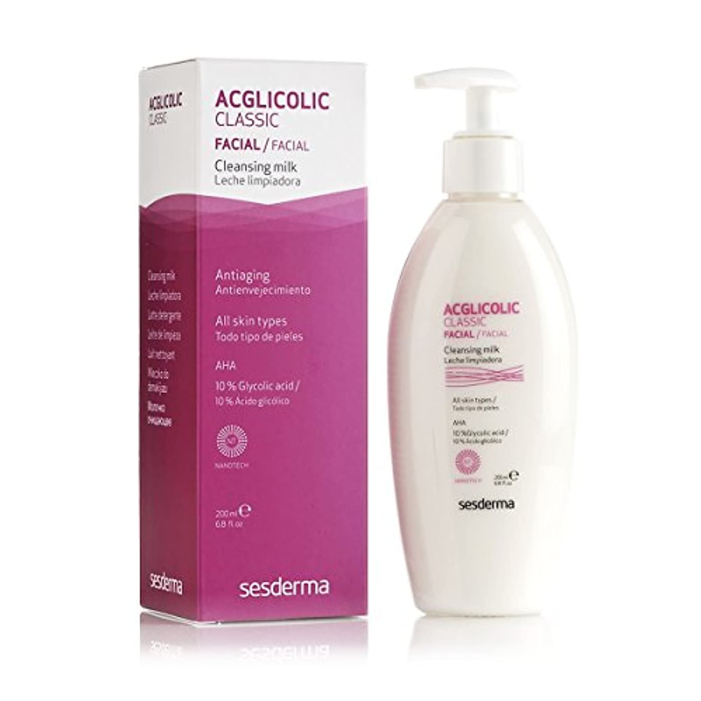 ほのめかすオフ内部Sesderma Acglicolic Classic Cleansing Milk 200ml [並行輸入品]